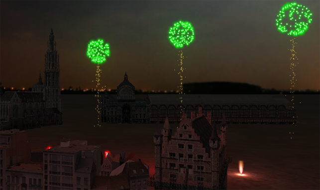 Fireworks combined with 3D models